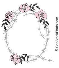 rosas, alambre de púa
