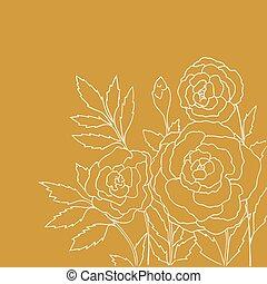 rosas amarillas, aislado, hermoso