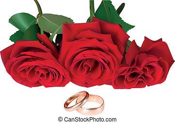 rosas, anéis, ilustração