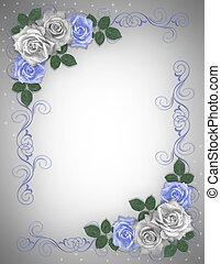 rosas, azul, casamento branco, borda