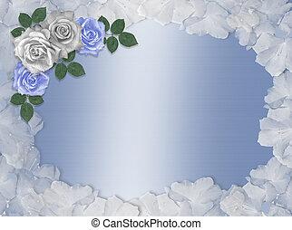 rosas, azul y blanco, boda, frontera