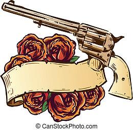 rosas, bandeira, armas, ilustração