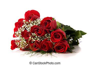 rosas, blanco, boquet, o, rojo