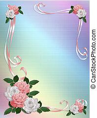 rosas, borda, cor-de-rosa, casamento branco, modelo