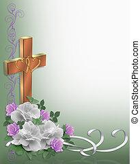 rosas, borda, cristão, casório