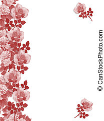 rosas, borda, vermelho, monocromático