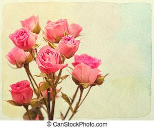 rosas, bouquet., vendimia, retro, style., papel, textured.