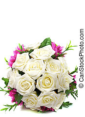 rosas, buquet, isolado, experiência., nupcial, branca