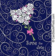 rosas, cartão cumprimento, casório