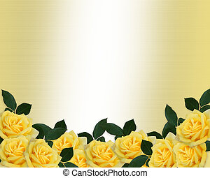 rosas, casório, borda, amarela, convite