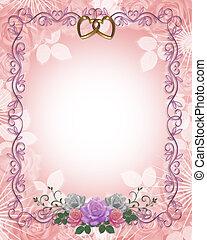rosas, casório, borda, convite