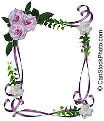 rosas, casório, borda, lavanda, convite