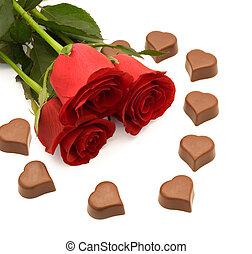 rosas, chocolate