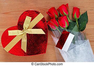 rosas, chocolates, vermelho