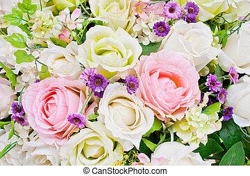 rosas, colorido, artificial