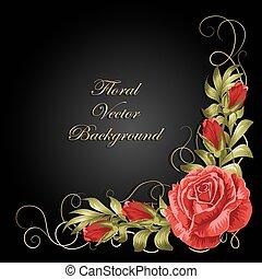 rosas, composição, leaves., canto
