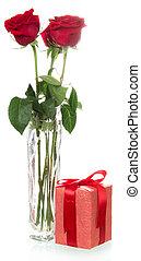 rosas, con, caja obsequio