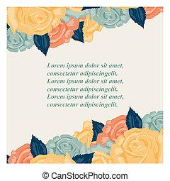 rosas, convite, retro, cartão, casório