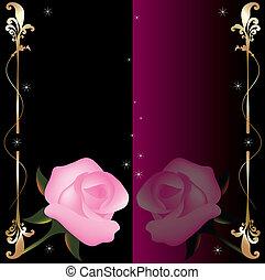 rosas cor-de-rosa, abstratos, vetorial, fundo