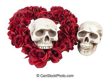 rosas, crânios, coração