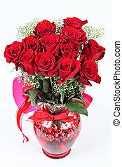 rosas, día de valentines, rojo, florero