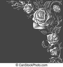 rosas, decoración, encima, fondo oscuro