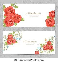 rosas, desenho, convite, cartões, seu, vermelho