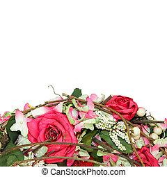 rosas, detalhe, grinalda