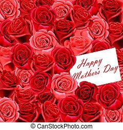 rosas, dia, cartão, mãe