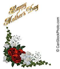 rosas, dia, cartão, mães