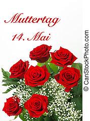 rosas, dia, vermelho, mãe