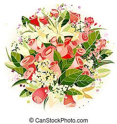 rosas, e, lírio, flores, grupo, ilustração
