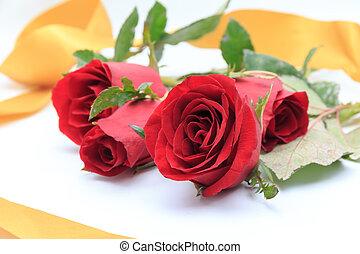 rosas, fita ouro, vermelho