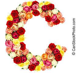 rosas, flor, s, alfabeto