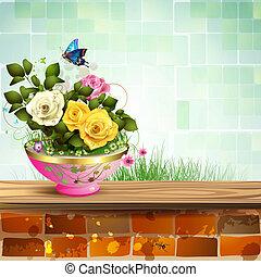 rosas, flowerpot