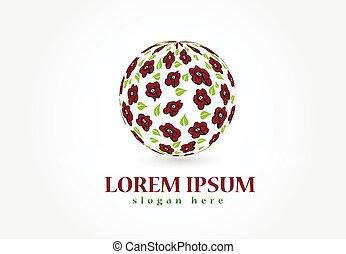 rosas, forma, bola, logotipo