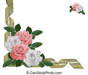 rosas, frontera, rosa, blanco