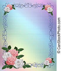 rosas, frontera, rosa, boda blanca, plantilla