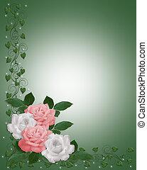 rosas, frontera, rosa, boda blanca, tarjeta
