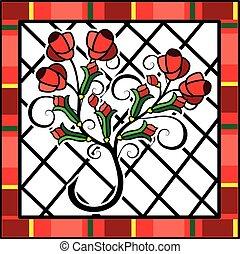 rosas, fundo, vermelho