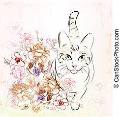 rosas, gato