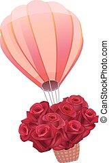 rosas, globo, lleno, rojo, fresco