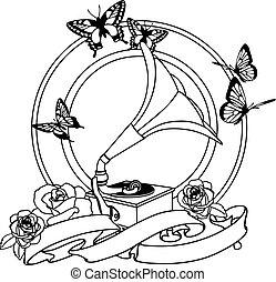 rosas, gramophone, emblema, pretas, branca