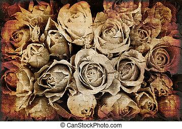 rosas, grunge, plano de fondo