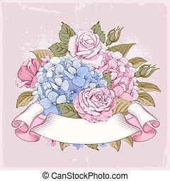rosas, hydrangea, lujoso