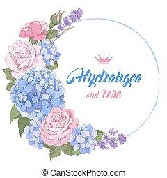 rosas, hydrangea, luxuoso