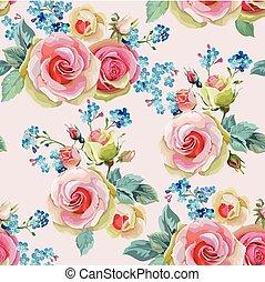 rosas, inglés, seamless, patrón