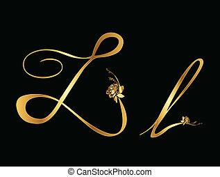 rosas, l, vetorial, dourado, letra