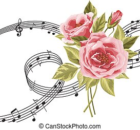 rosas, música, notas., vermelho