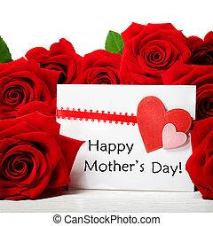 rosas, mensaje, día, rojo, madres